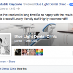 A Facebook review for Blue Light Dentists in North London - Best service I've received in long time! So so happy with the result of the 6 month smile braces!!! Lovely friendly staff. Highly recommend!!!!