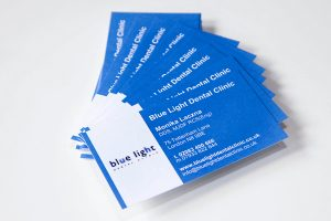 business cards for blue light dental clinic in crouch end