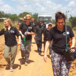 The Blue Light Dental team walking through Tanzania