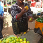 A woman at the citrus stand in Tanzania where our team of north london dentists volunteered